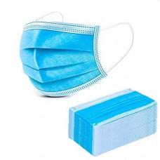 Маска медицинская, трехслойная, на резинках, из нетканого материала одноразовая, 50 шт в упаковке
