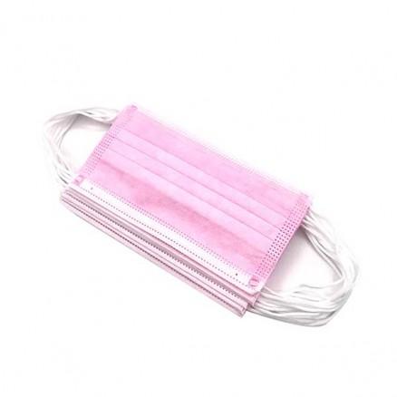 Маска медицинская 3-х слойная, розовая, 50 шт/уп