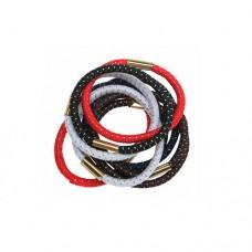 Резинки для волос DEWAL, с серебристой нитью, цветные, maxi 10 шт/уп