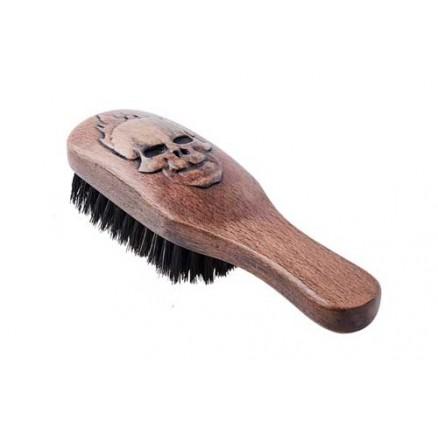 Щетка для укладки волос и бороды DEWAL, серия Barber Style, с ручкой, натуральная щетина, 8 рядов