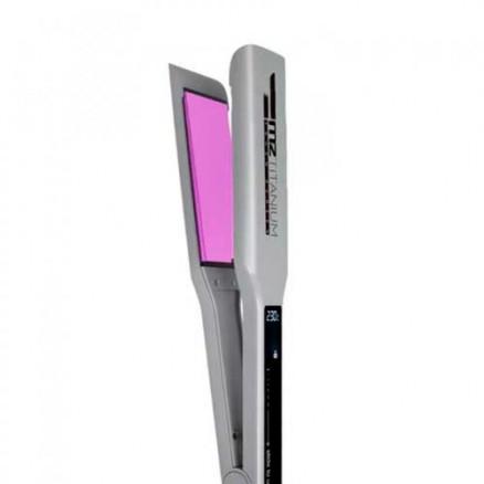 Профессиональный выпрямитель MZ titanium 1068R, цвет: серебристый, широкие розовые пластины