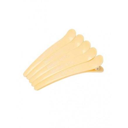 Зажимы для волос Dewal Beauty, желтые, 5 шт/уп