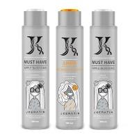JKeratin J.Hair Mocaccino & Almond набор для выпрямления жёстких кудрявых волос, 480/480/480 мл