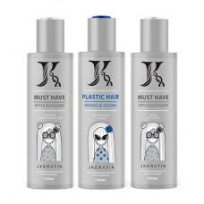 JKeratin Plastic Hair Mango & Jojoba набор для выпрямления волос с мягким завитком, 120/120/120 мл