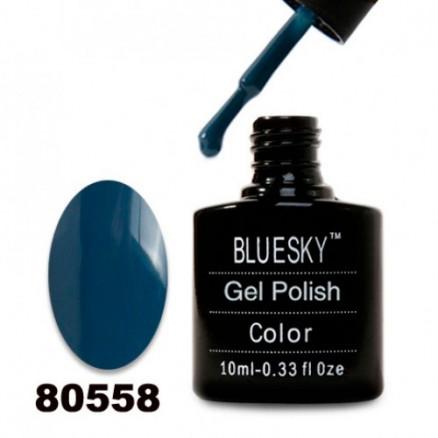 Гель-лак BlueSky, темно-голубой, плотный, 80558, 10 мл