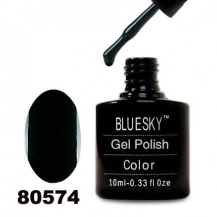 Гель-лак BlueSky, темно-зеленый с микроблеском, плотный, 80574, 10 мл