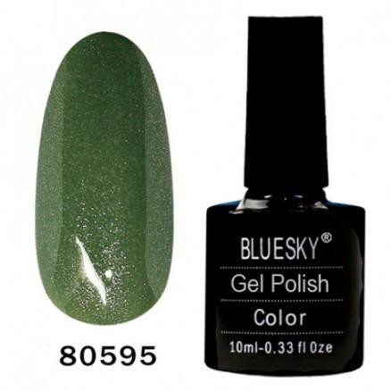Гель-лак BlueSky, грязно-зеленый, с серебряными микроблёстками, 80595, 10 мл